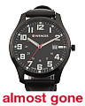 Men's Swiss Made City Leather And Nylon Strap Watch