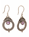 Made In India Sterling Silver Gemstone Hoop Beaded Earrings