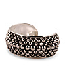 Made In Mexico Sterling Silver Beaded Large Cuff Bracelet