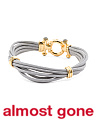 Made In Italy 18k Gold Plated Silver Leather Gemstone Bracelet