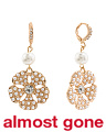 Gold Tone Pearl And Crystal Flower Drop Earrings