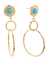 Made In Italy 18k Plated Sterling Silver Turquoise  Earrings