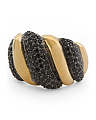 Made In Italy Gold Plated Sterling Silver Black Spinel Ring
