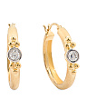Made In Italy Gold Plated Sterling Silver CZ Hoop Earrings
