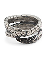Made In Italy Sterling Silver Black Spinel Snake Wrap Ring
