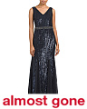 Allover Sequin V-neck Gown