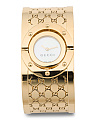 Women's Swiss Made Twirl Logo Print Bangle Watch In Gold Ip
