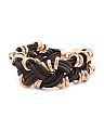 Made In Italy Rose Gold Plate Bronze Braided Cord Bracelet
