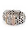 Made In Italy Sterling Silver Tri Tone CZ Mesh Ring