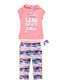 Big Girls Hoodie & Capri Set With Wristband