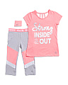 Little Girls Active Top & Capri Set With Wristband