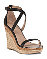 Ankle Strap Leather Espadrille Wedges
