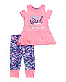 Little Girls 2pc Cold Shoulder Ruffle Capri Set