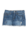Big Girls Frayed Hem Denim Shorts