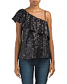 Juniors Clair One Shoulder Sequin Top