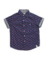 Little Boys Lobster Print Woven Shirt