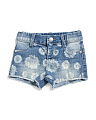 Infant Girl Flower Printed Denim Shorts