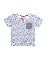 Little Boys Shark Fin Pocket T-shirt