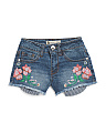 Big Girls Embroidered Denim Shorts