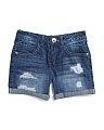 Big Girls Roll Cuff Denim Shorts