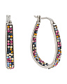 Multicolor Crystal Stainless Steel Hoop Earrings