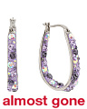Tanzanite Crystal Stainless Steel Hoop Earrings