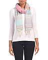 Striped Oblong Scarf With Fringe