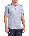 Short Sleeve Henley With Stitching
