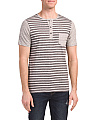 Striped Speckled Henley With Pocket