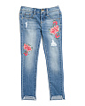 Big Girls Rose Embroidered Raw Hem Jeans