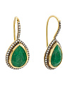 Made In India Sterling Silver Emerald Cubic Zirconia Teardrop Earrings