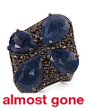 Handmade In India Pave Champagne Diamond And Sapphire 925 Silver Ring