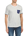Slub V-neck Print Pocket Tee