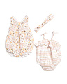 Newborn Girls 2pc Foil Printed Bubble Romper Set
