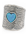 Made In Israel Sterling Silver And Opal Heart Ring