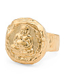 Handmade In USA 18k Gold Plated Brass Thai Buddha Ring