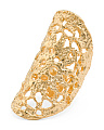 Handmade In USA 18k Gold Plated Puglia Lace Cuff Ring