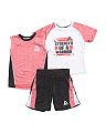 Little Boys 3 Piece T Shirt Muscle & Short Set