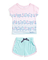 Girls 2pc Seashell Pajama Short Set