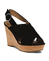 Cross Band High Cork Wedge Sandals