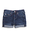 Little Girls Roll Cuff Denim Shorts