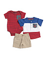 Newborn Boys 3pc Henley Tee & Short Set