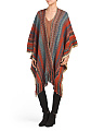 Multi Color Knit Ruana With Fringe