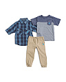 Toddler Boys 3pc Woven Tee & Pant Set