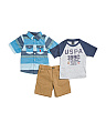Toddler Boys 3pc Woven Tee & Short Set