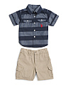 Little Boys 2pc Woven Shirt & Short Set