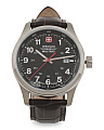 Men's Swiss Made Terragraph Field Leather Strap Watch