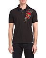 Embroidered Slub Jersey Polo