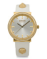 Women's Shiny Pebble Crystal Bezel Leather Strap Watch