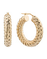 Made In Italy Gold Plated Sterling Silver Basketweave Hoop Earrings